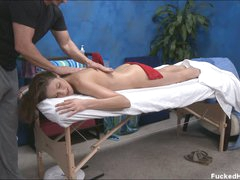 Brunette playgirl Samantha with sexy body disrobes down to her bare skin. That babe enjoys massage with her face down with masseur's skillful hands all over her body!
