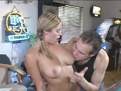 Babe in the pool room sucks his big knob