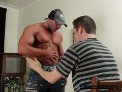 Massive muscles stripper max getting worshipped by horny fellow