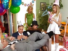 Lesbian orgy looked over by genie Ron Jeremy