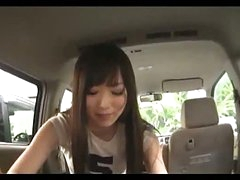 Asian Girl Engulfing Man Cock Giving Handjob Cum To Hand In The Back Of The Car