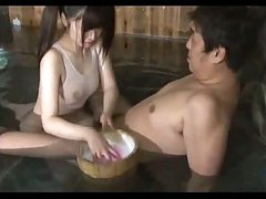 Oriental Girl In Swimsuit Giving Oral In The Bath
