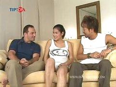 Huge tits Thai porn star NAT sucks 2 dicks and receives screwed in 2 scenes