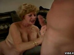 Featuring this unstoppable blond oldy as this babe takes in the limelight ater a long time of cock scarcity and see how this babe grooves in to enjoy these 2 astounding cocks in one hell of a three-some that you won't dare to forget.