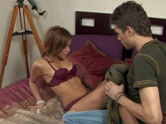 Melanie Rios is a slim teenage babysitter.y girl takes