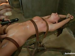 tied floozy with glamorous face acquires her cunt fucked