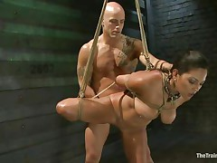 adriana is tied and fucked by a bald muscled stud