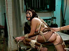 sexy brunette milf bound up in bondage