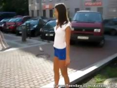 Youthful dude picks up cute brunette hair in the parking lot and takes her home to fuck