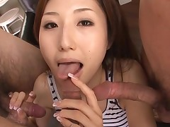 Hawt Oriental mama in heels gets stripped and drilled on sofa