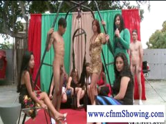 CFNM angels enjoying guys in swing willing to be blowed off
