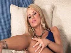 Breasty bitch using huge glass dildo