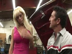 Busty blond penetrated over the car