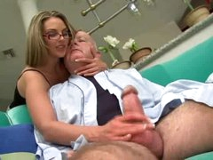 Super sexy girl in glasses fucked by chubby old guy
