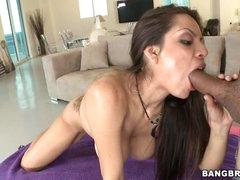 Yurizan Beltran shoves a stiff knob down her throat