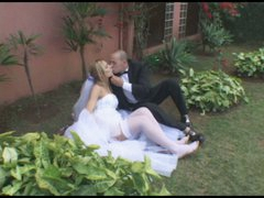 Sexy wedding sex outdoors