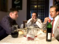 French maid blows guys under the table